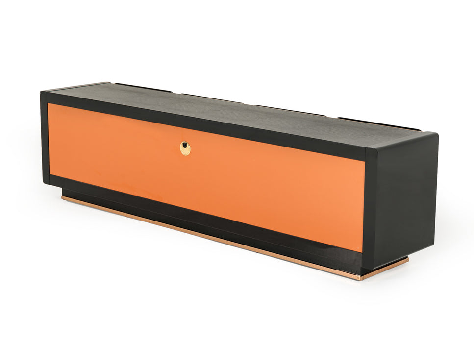 A&X Talin Modern Black Crocodile & Rosegold TV Stand