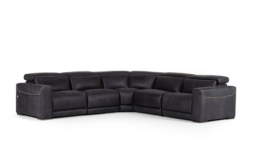 Estro Salotti Thelma Modern Black Italian Leather Sectional Sofa w/ Recliners
