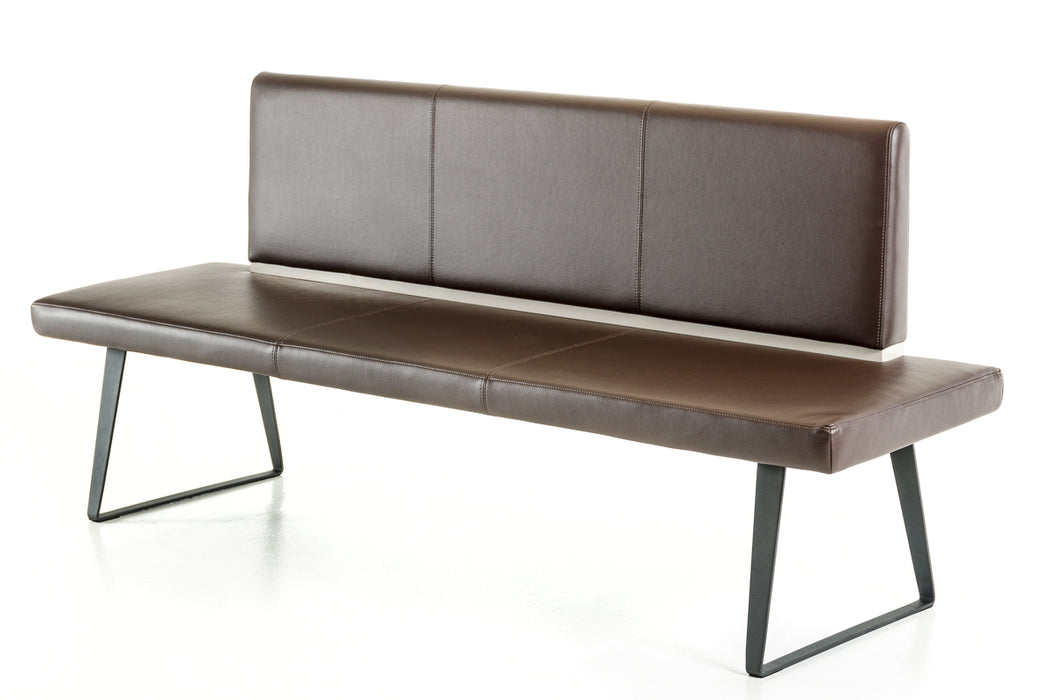 Modrest Union Modern Brown Leatherette Dining Bench