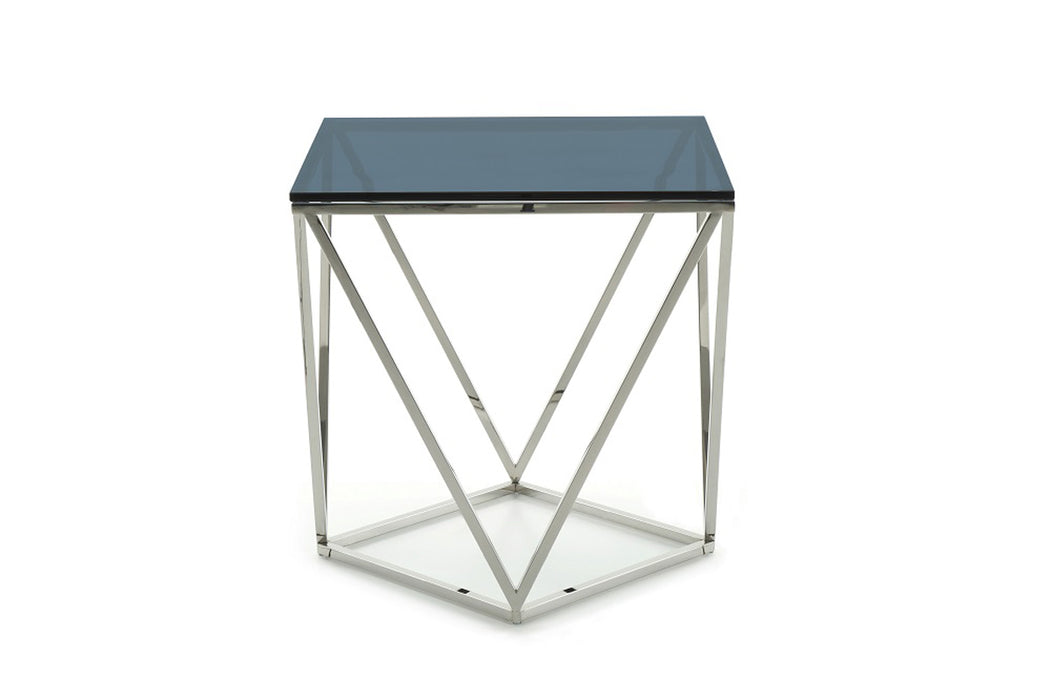 Modern Vector Modern Smoked Glass & Stainless Steel End Table