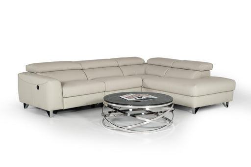 Divani Casa Versa Modern Light Grey Eco-Leather Sectional w/ Recliner