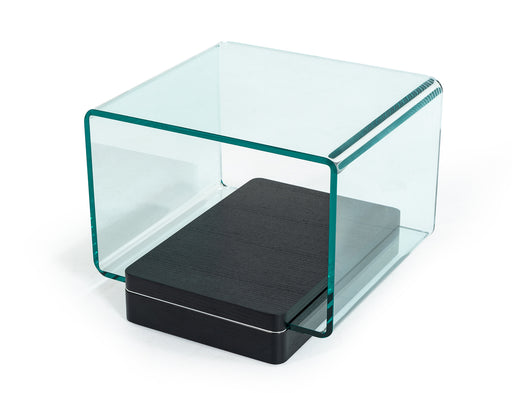 Modrest Vitro Modern Glass and Oak End Table