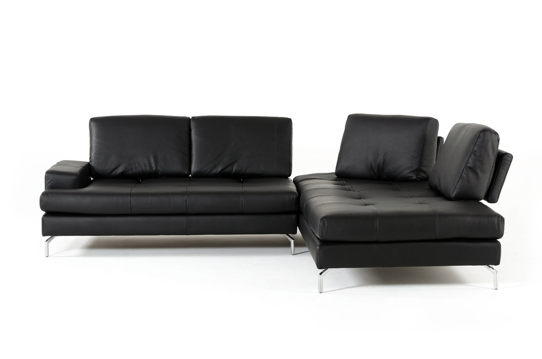 Estro Salotti Voyager Modern Black Leather Sectional Sofa