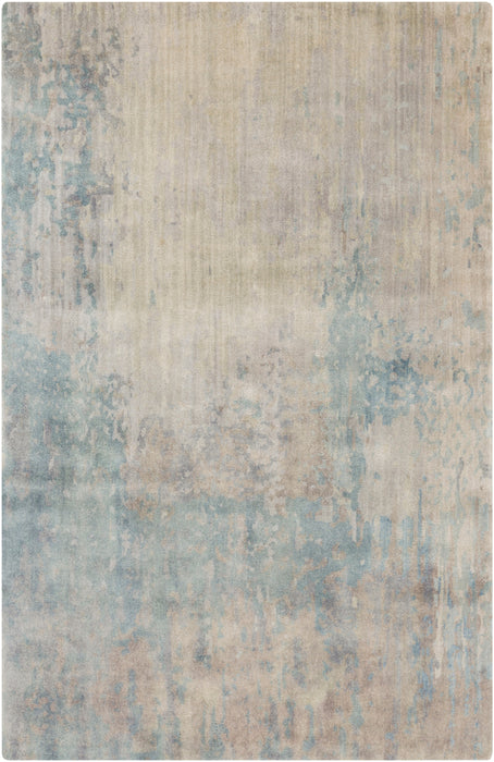 WAT-5000 edition. Variant Number WAT5000-1616 is an Area Rugmanufactured, and tailored by Suryarugs, and part of the Watercolor Collection. Watercolor is one of our top selling best sellers, and Hand Knotted in India.  Made with Knot type  with elegant details , Antique Wash. Made with 100% Wool  material in Wool, 100% Wool. Backing is No Backing and this beautiful rug is in the colors Denim, Ivory, Camel, Light Gray, Medium Gray, Taupe, Charcoal. T