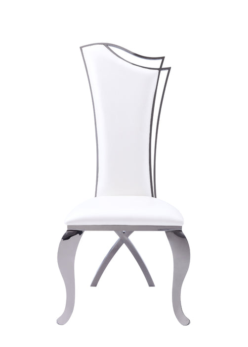 Modrest Bonnie Transitional White Leatherette & Black Stainless Steel Dining Chair (Set of 2)
