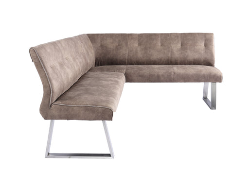 Modrest Zane Modern Brown Fabric L-Shaped Dining Bench