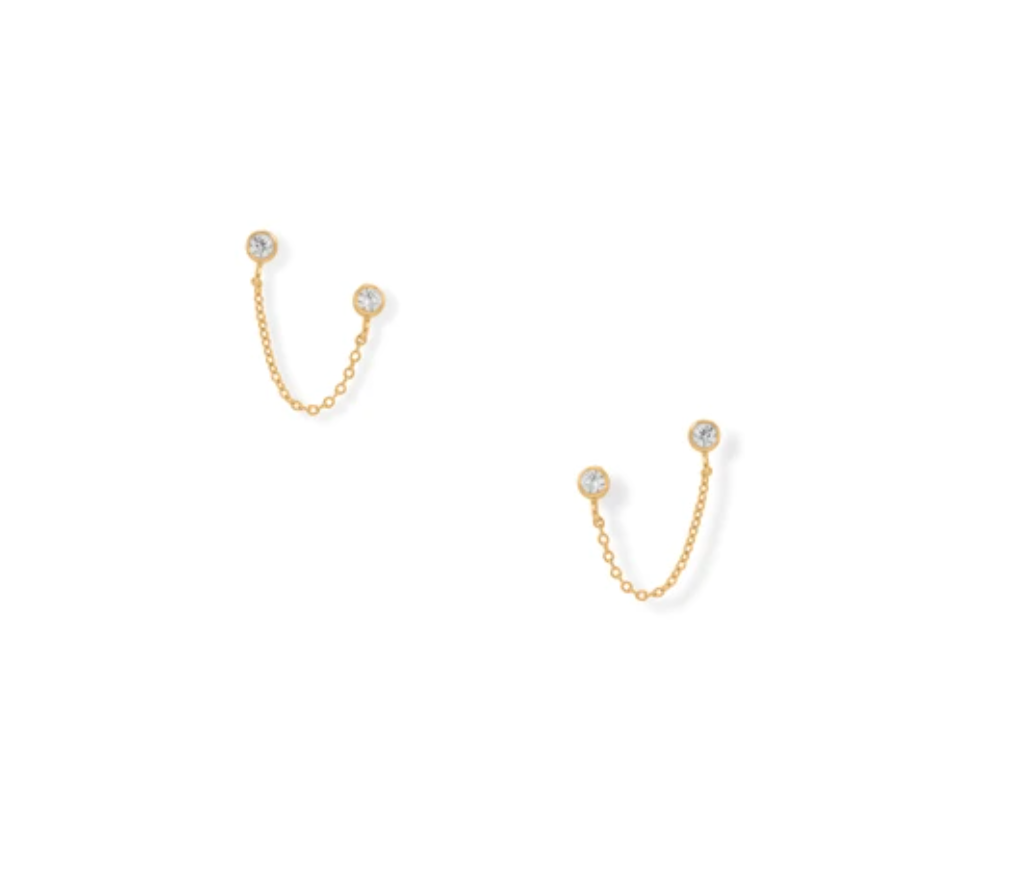 14kt Gold Plated Double Post Earrings