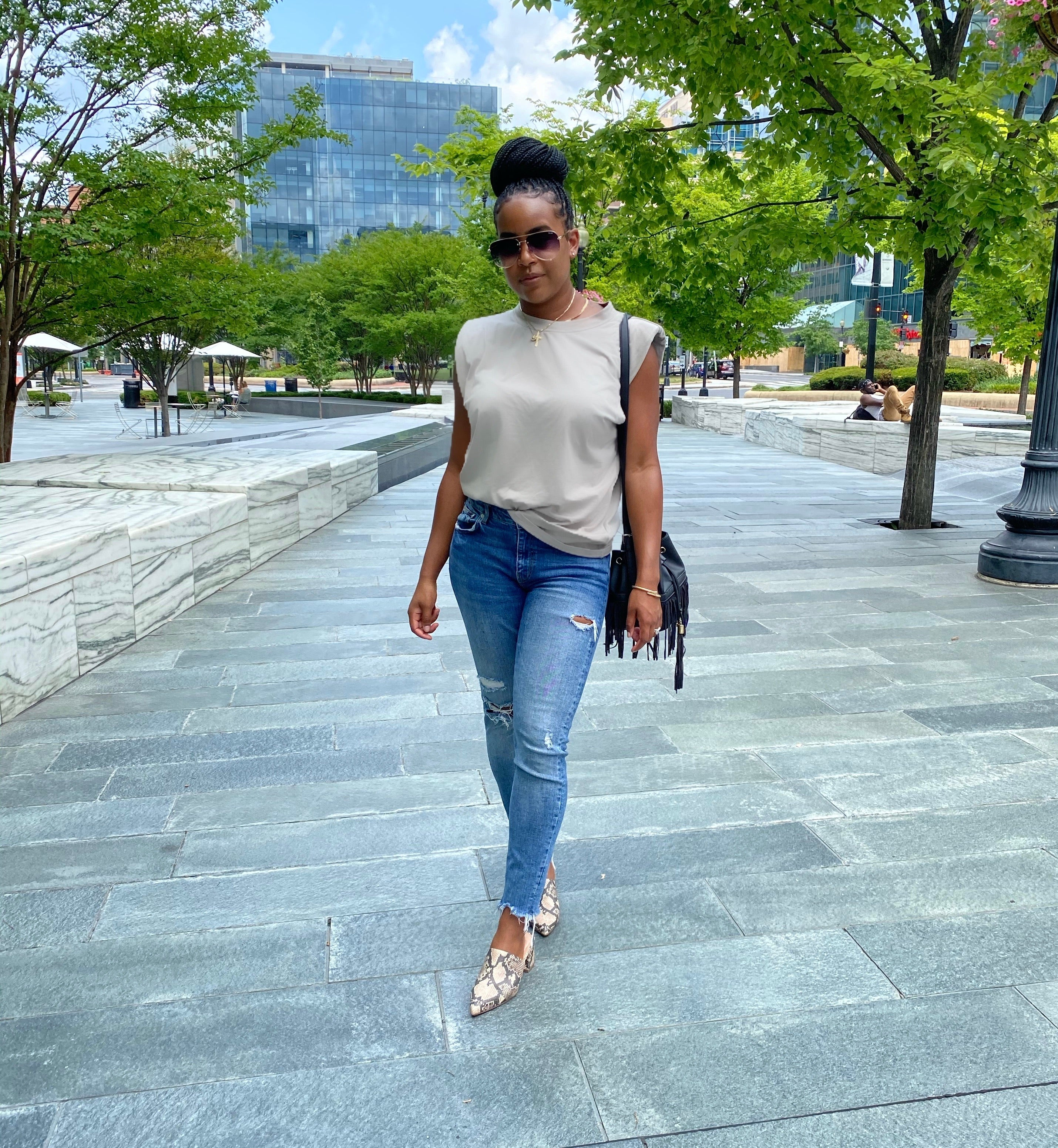 Oversized Shoulder Pad Tee | Taupe