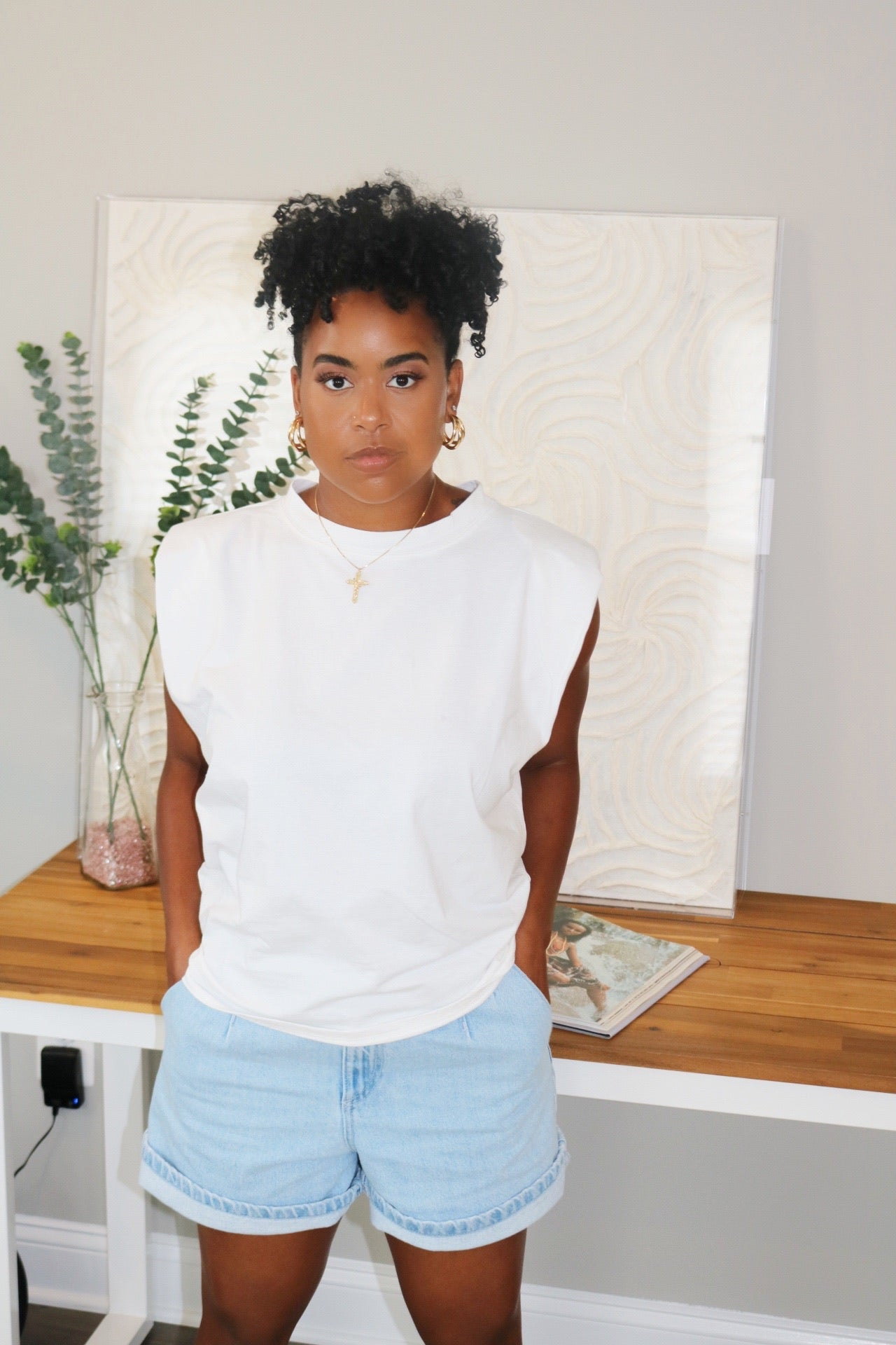 Oversized Shoulder Pad Tee | White