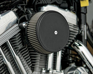 Arlen Ness 18-326 Billet Sucker Stage I Air Filter Kit with Steel Cover - Smooth Black - Red Filter