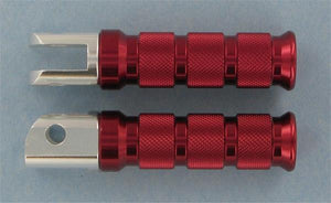 Emgo 50-11372 Round Style Footpegs - Rider - Red