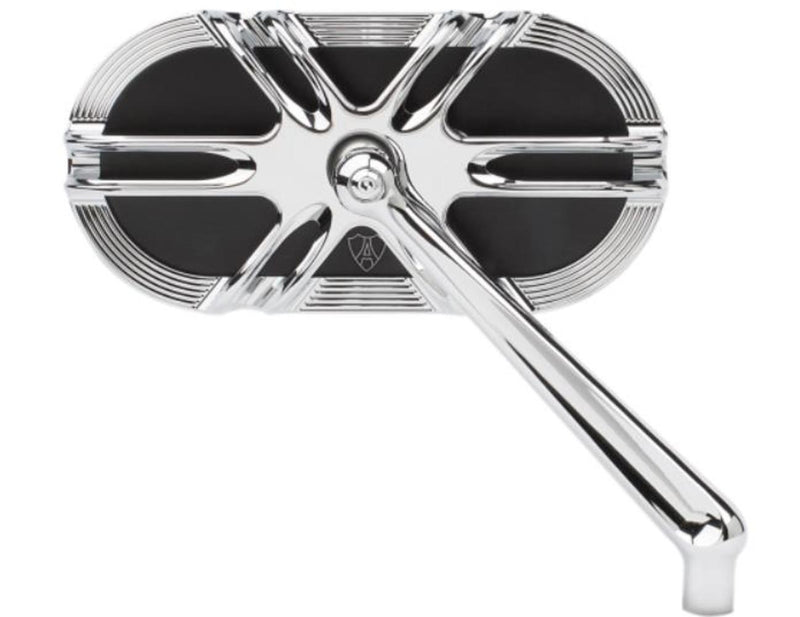 Arlen Ness 13-167 Caged Series Deep Cut Mirror - Right - Chrome