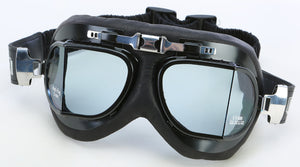 Emgo Classic Split Lens Leather Cushion Goggles Black / Clear Lens Black