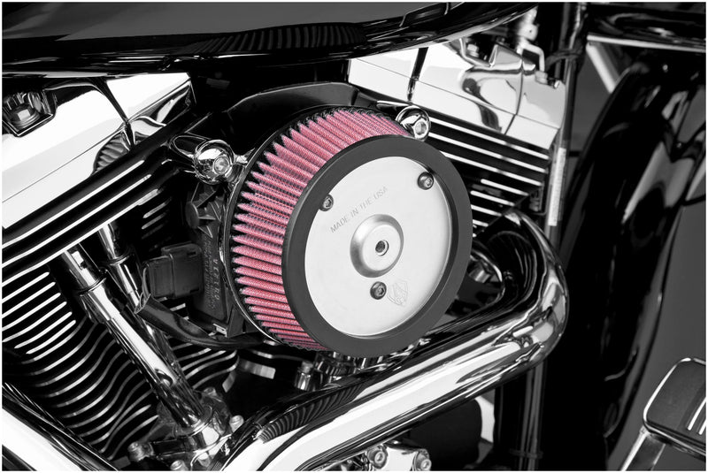 Arlen Ness 18-505 Big Sucker Stage I Air Filter Kit - Plain Backing Plate - Red Filter