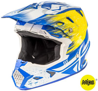 Fly Racing Toxin Resin Helmet White/Yellow/Blue Blue