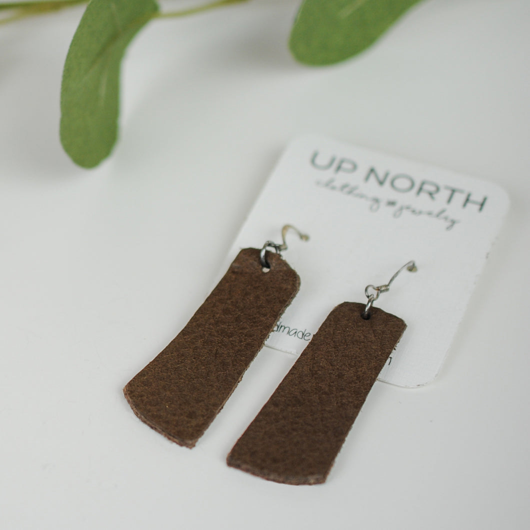 Long Dark Brown Leather Earrings.
