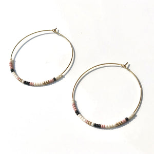 Beaded hoop earrings. Blush, Cream, Black and Gold.