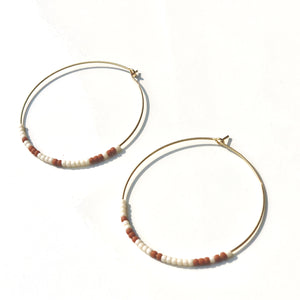 Beaded hoop earrings. Terra Cotta and Cream.