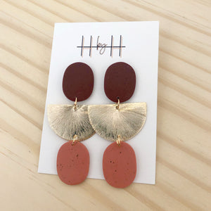 H by H Brown Terra Cotta Gold Earring