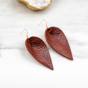 Dark Brown Leather Teardrop Earrings.
