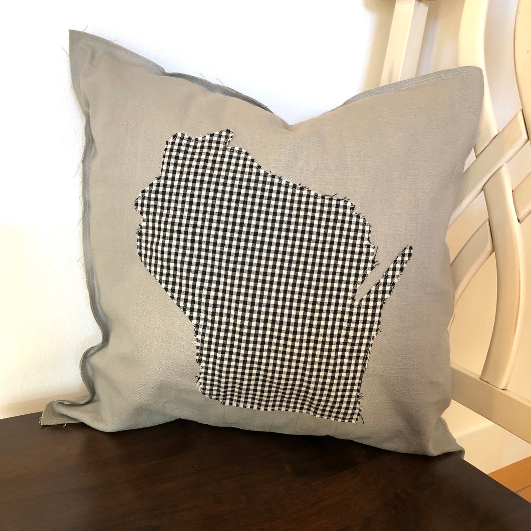 Black and White Flannel Wisconsin Pillow.