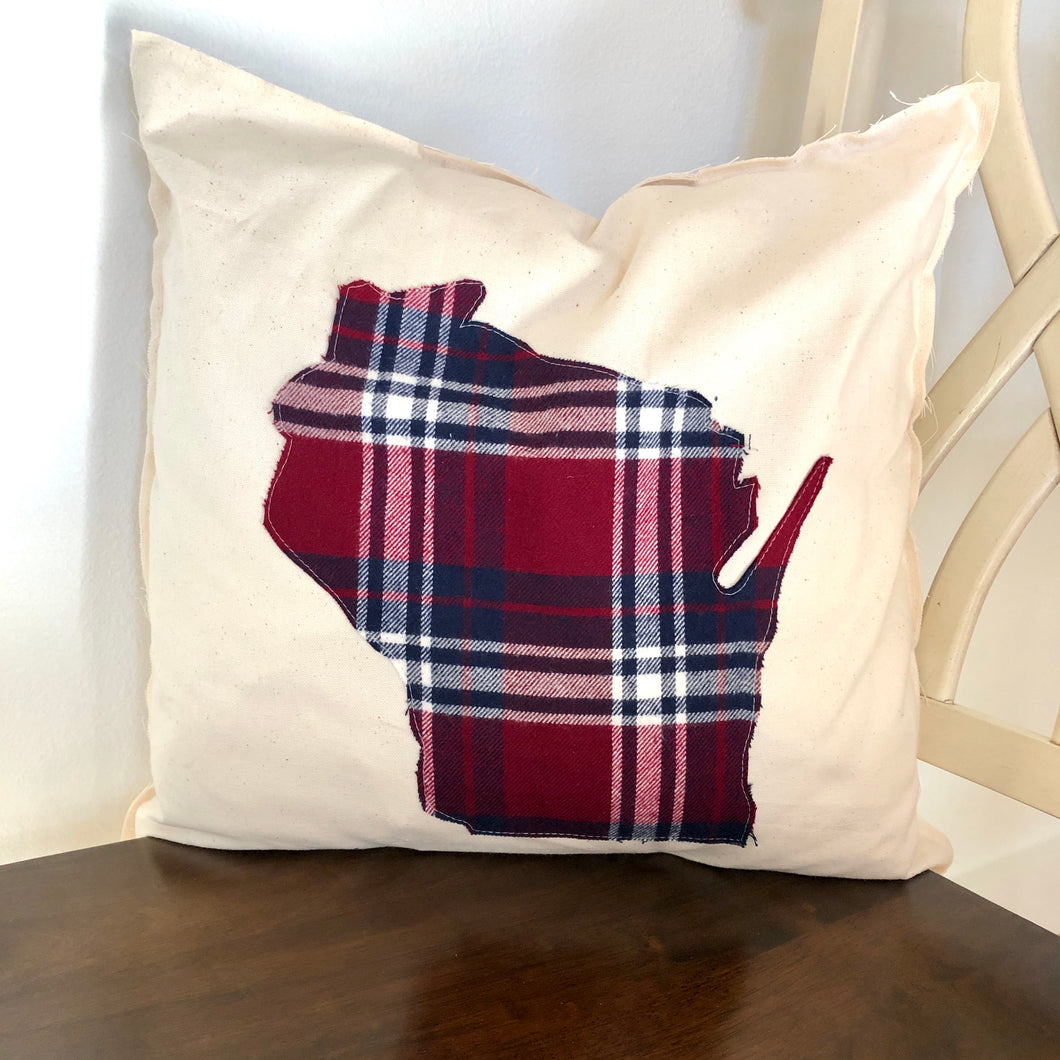Maroon and Navy Flannel Wisconsin Pillow.