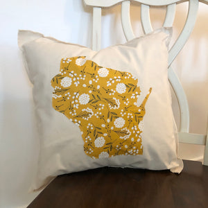 Yellow Floral Wisconsin Pillow.