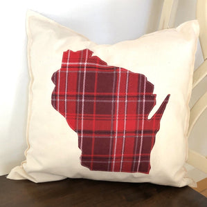 Red Flannel Wisconsin Pillow.