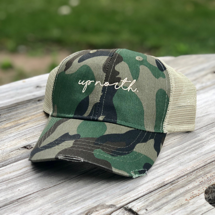Up North Trucker Hat. Camo.