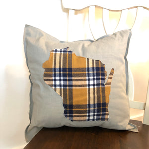 Yellow and Navy Flannel Wisconsin Pillow.