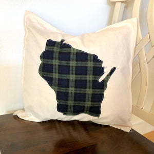 Navy and Green Flannel Wisconsin Pillow.