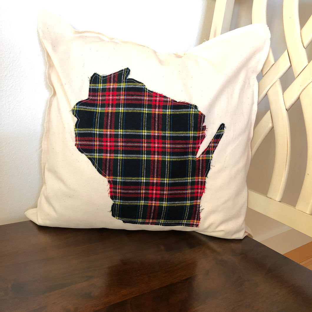 Red, Black, Yellow, and Green Flannel Wisconsin Pillow.