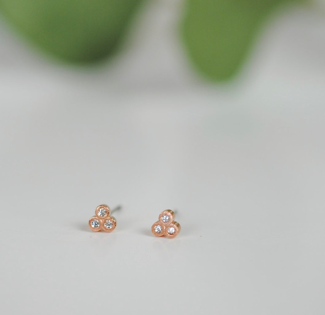 Triple Dot Stud Earrings. Rose Gold.