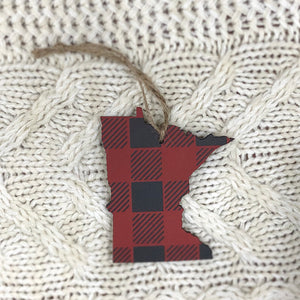 Minnesota Ornament. Red and Black.