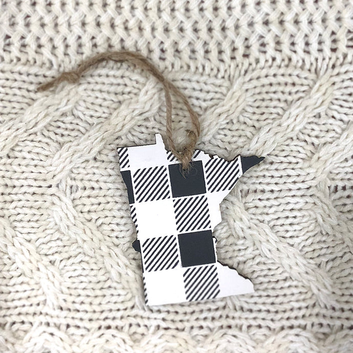 Minnesota Ornament. White and Black.