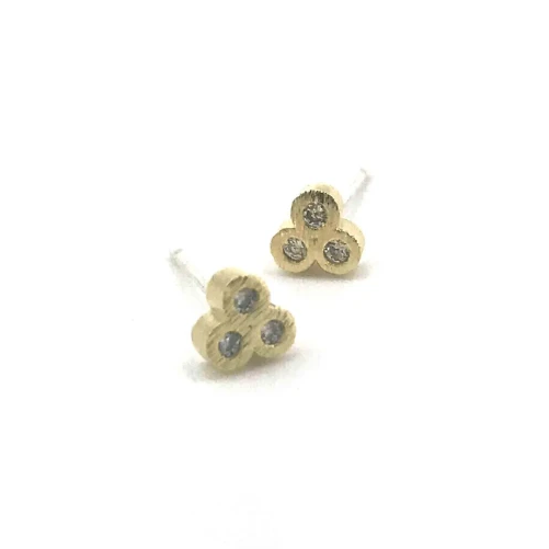 Triple Dot Stud Earrings. Gold.