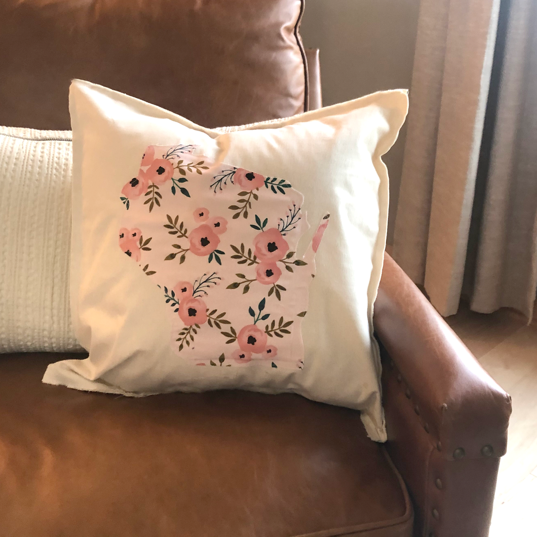 Pink Floral Wisconsin Pillow.