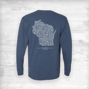 Wisconsin Favorites Long Sleeve Shirt. Navy.