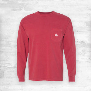 Wisconsin Favorites Long Sleeve Shirt. Dark Red.