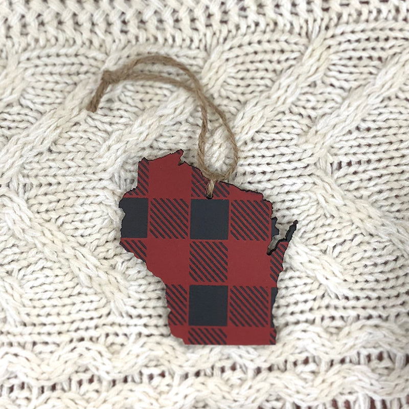 Wisconsin Ornament. Red and Black.