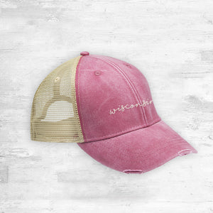 Wisconsin Script Trucker Hat. Red.