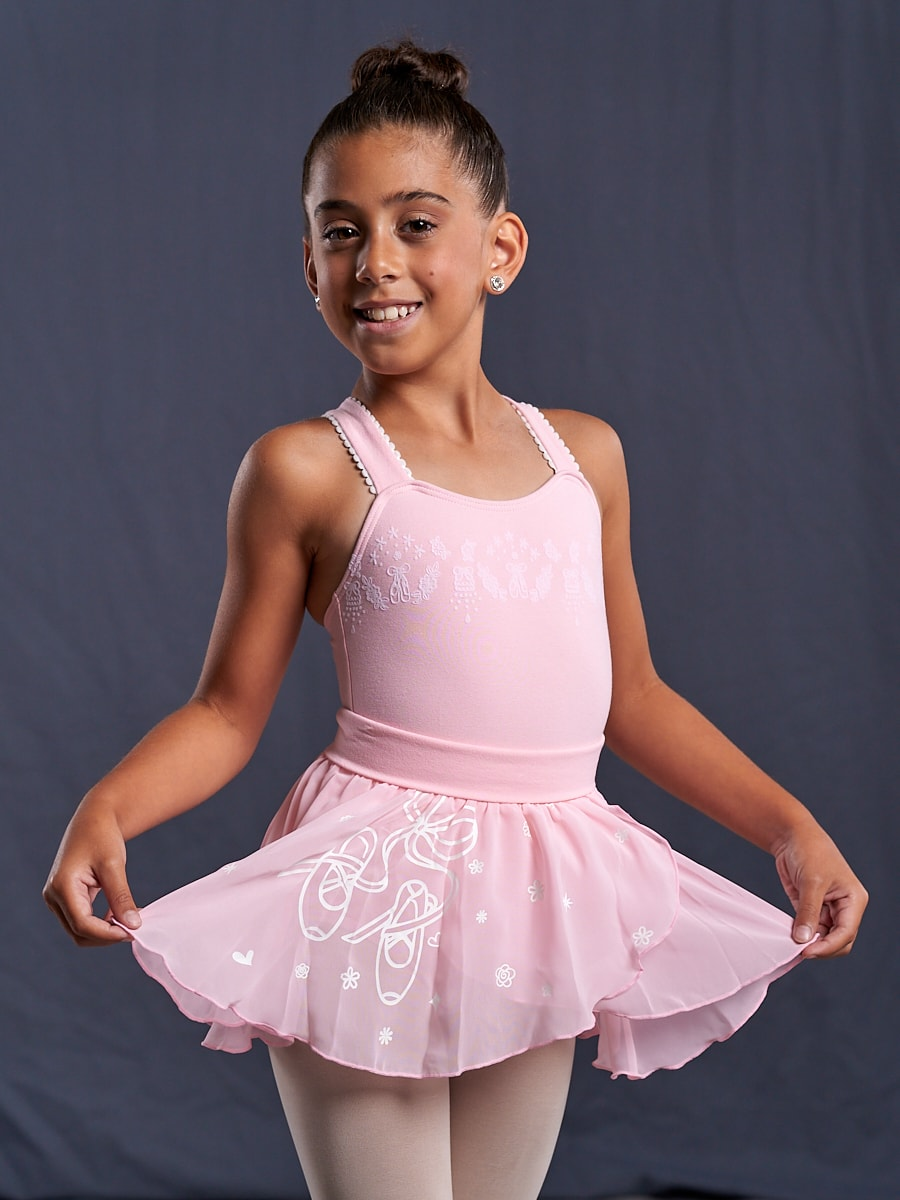 #910C 2 piece leotard and skirt Ballet Shoe Embossed