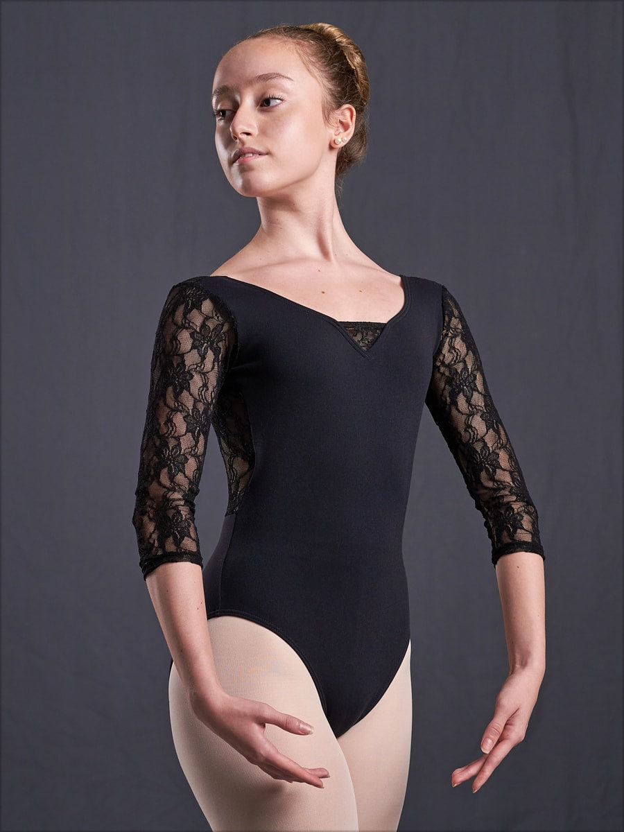 #915  3/4 Sleeve Lace Trim Leotard