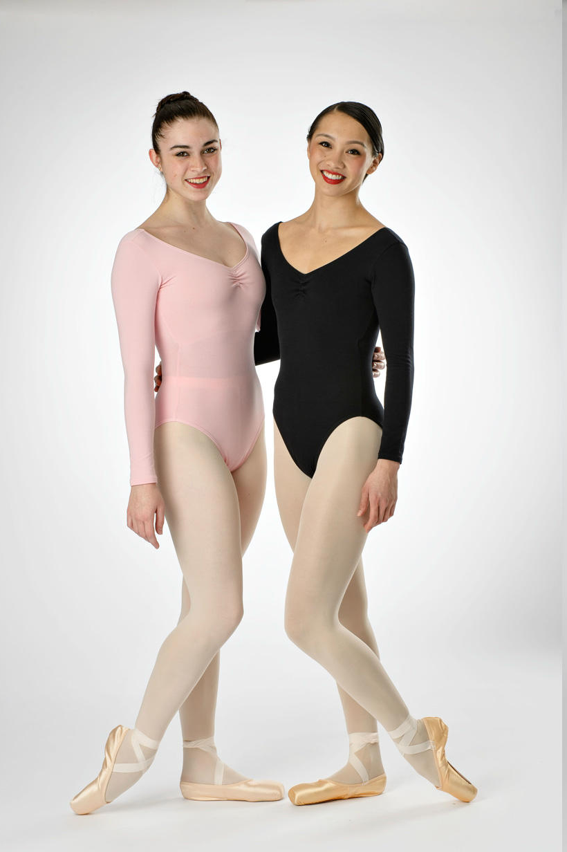 #909 LONG SLEEVE LEOTARD, ADJUSTABLE PINCH FRONT BODICE