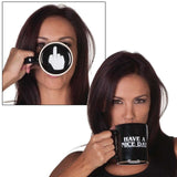 "Ceramic ""Have a Nice Day"" Middle Finger Coffee Mug"