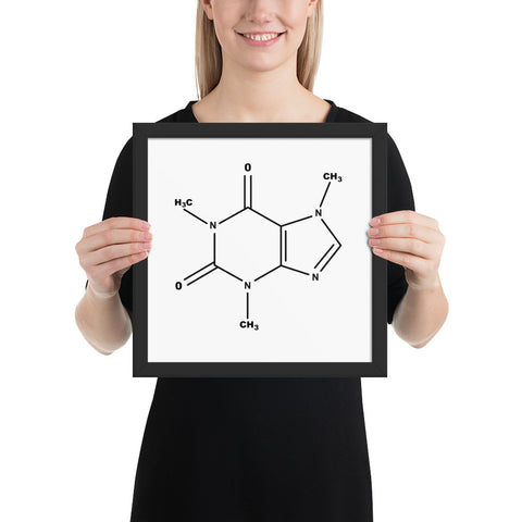 Coffee Chemical Molecule - Framed poster