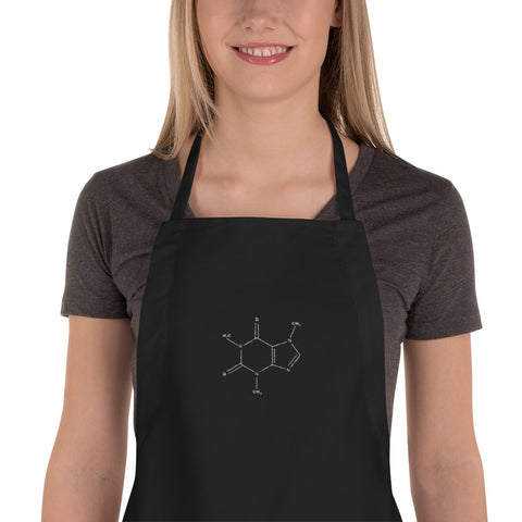 Coffee Chemical Molecule - Embroidered Apron