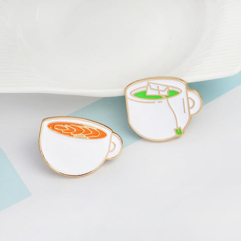 QIHE JEWELRY 3pcs/set Enamel pins set Coffee cup tea cup Pin back button Coffee jewelry Kawaii brooch for girls