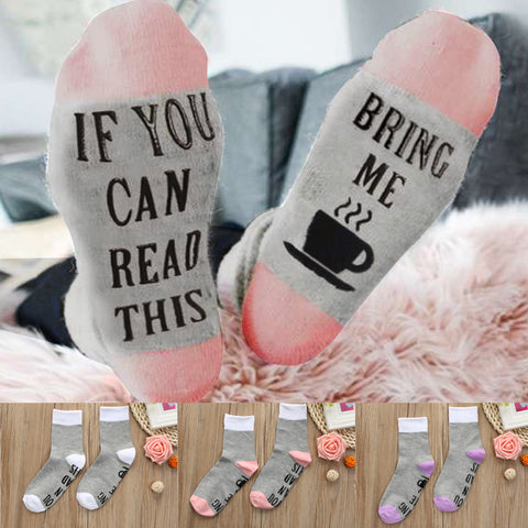 Women's White Mesh Letter Print Short Bring Me Coffee Funny Socks