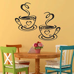 Double Coffee Cups Wall Stickers Beautiful Design tea Cups Room Decoration Vinyl Art Wall Decals Adhesive Stickers Kitchen Decor